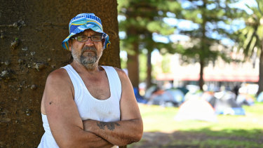 John 'Ox' Kent says the kitchen and camp set-up in Pioneer Park in Fremantle feels safe.