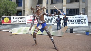 Bardi dancer Frank Moochoo at a protest outside of Parliament House on Wednesday.