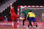 Sander Sagosen of Team Norway attempts a shot at goal.
