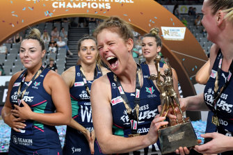 Tegan Philip of the Vixens celebrates victory in the 2020 Super Netball Grand Final.