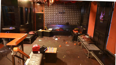 The aftermath of the shooting inside Inflation nightclub.