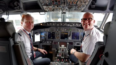 Rex pilots John Veitch and Brett Brown on the inaugural flight from Melbourne to Sydney.