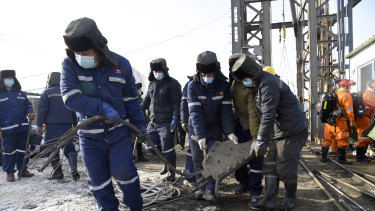 Rescuers work to clear rubble at the mine explosion in Shandong Province last week.