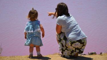 Carmen and Ruby at Pink Lake near Kalbarri.