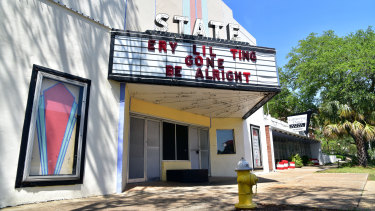 A shuttered cinema in Albany, Georgia, offers a little message of hope in bleak times.