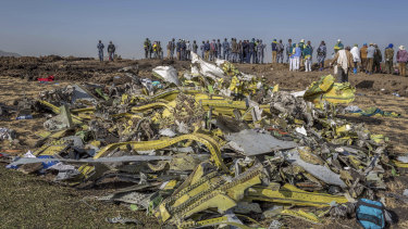 Wreckage is piled at the crash scene of the Ethiopian Airlines tragedy. Was the carrier's pilot training adequate?