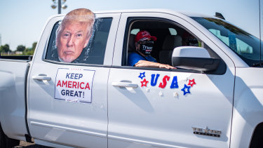 Trump supporters at a rally in Laredo, Texas, on Saturday, October 10.