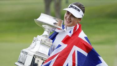 Hannah Green celebrates her triumph in the Women's PGA Championship.