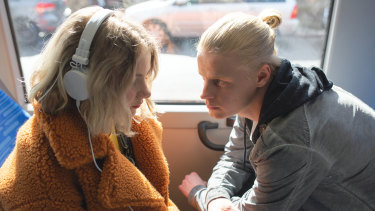 Harassment on a bus: Pinja Sanaksenaho (left) and Veikko Aalste in Force of Habit.