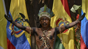 A Colombian Amazon tribesman during the Summit of Presidents for the Amazon on September 6.