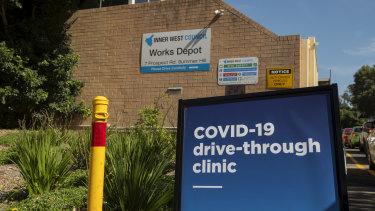 A drive-through coronavirus clinic in Sydney's inner west.