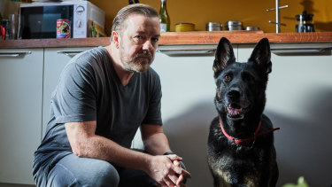 Ricky Gervais in a scene from his Netflix series After Life.