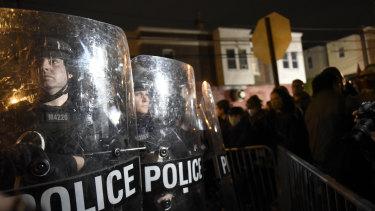 Philadelphia police officers form a line during a demonstration in Philadelphia.