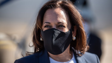 Senator Kamala Harris, Democratic vice presidential nominee, arrives at the McAllen International Airport for a get out the vote campaign event in Texas.
