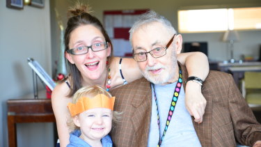 Katie Little, son Hunter, and her father, Barry Little, in 2015.