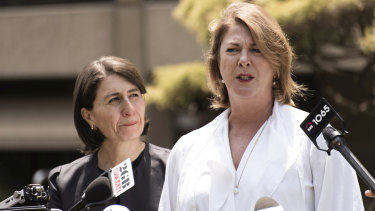 Water Minister Melinda Pavey alongside Premier Gladys Berejiklian as they announced last week that level two water restrictions had been fast-tracked for Sydney, the Illawarra region and the Blue Mountains.