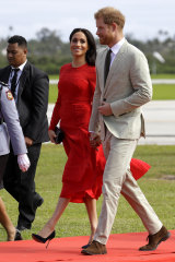 Britain's Prince Harry and Meghan, Duchess of Sussex, arrive in Nuku'alofa,Tonga.