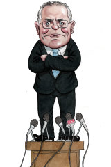 "Scott Morrison approaches a long-form press conference like a ""hostile witness in a trial"". Illustration: John Shakespeare"