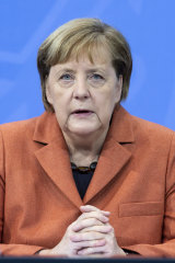 German Chancellor Angela Merkel announcing the stricter lockdown restrictions on Sunday.