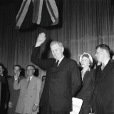 Ben Chifley opening his election campaign at the Empire Theatre in Sydney on 4 April 1951.