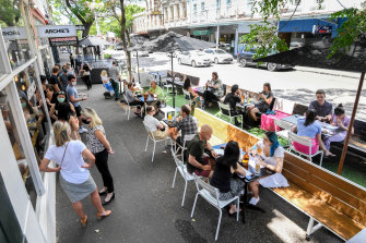 Archie's All Day on Gertrude Street is seating diners on top of the parking space out the front of the cafe.
