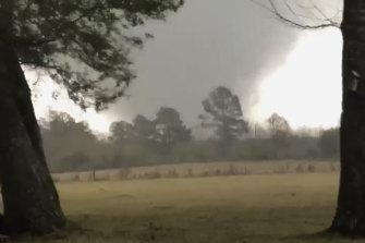 A tornado hits Rosepine in Louisiana on Monday.