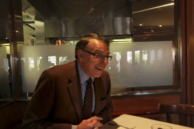 Former ICAC commissioner David Ipp at lunch with Herald journalist Michaela Whitbourn, July 2014.