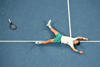 Courting success: Novak Djokovic celebrates victory.