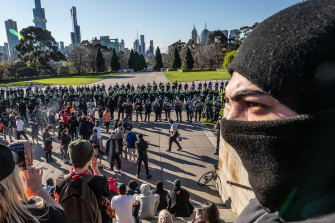 The demonstrators ultimately converged on the Shrine of Remembrance.