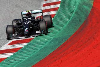 Bottas in action during qualifying.