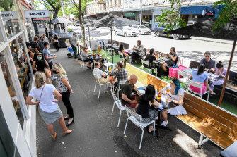 Parklets have proved popular in Gertrude Street, Fitzroy.