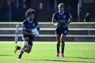 Brian To'o and Jarome Luai at Blues training this week.