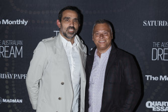 Adam Goodes, with journalist Stan Grant, has become a leading voice against racism.