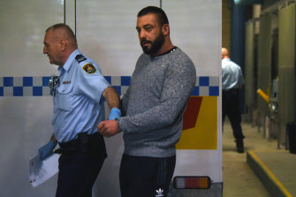 Ricardo Barbaro at Burwood Court in Sydney following his early morning arrest.