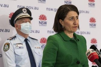 NSW Premier Gladys Berejiklian and Police Commissioner Mick Fuller on Saturday.