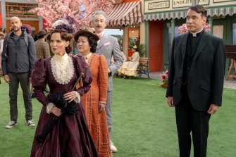 Chenoweth as Bible-bashing bully Mildred Layton with Fred Armisen (right) as her brow-beaten husband in Schmigadoon!