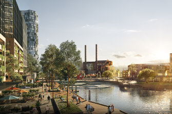 An artist's impression of the White Bay makeover, featuring White Bay Power Station, apartments and waterfront parks.