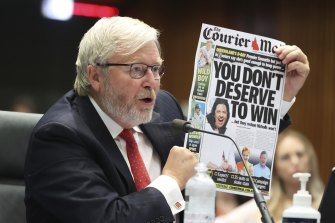 Former prime minister Kevin Rudd gave evidence at Senate hearing on media diversity in Australia on Friday.