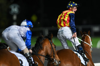 James McDonald stands high in the irons of Nature Strip after crossing the line in the Moir Stakes.