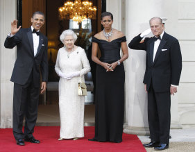 The royal couple dined with the then US president Barack Obama and first lady Michelle Obama in London in 2011.
