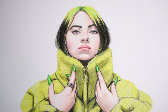 Nathan McCarron's sketch of pop star Billie Eilish.