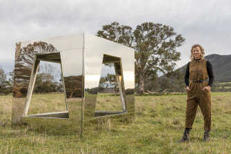Sculptor Jasmine Mansbridge with her new work You/Me/Sky/Sea