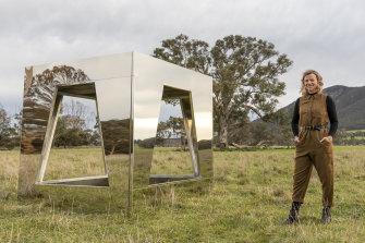 Sculptor Jasmine Mansbridge with her new work You/Me/Sky/Sea