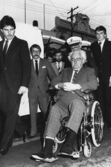 Judge Ray Watson arrives at his wife Pearl's funeral at the Newtown Uniting Church on July 10, 1984.