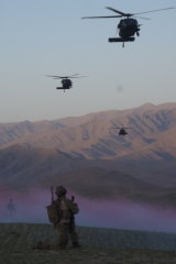 Team extraction at the end of a long daylight mission, Khod Valley, Afghanistan.
