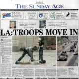 LA: Troops Move In - Front page of the Sunday Age on May 3, 1992.