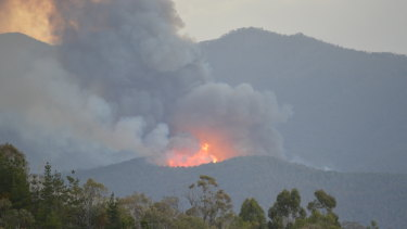 Smoke rises from a bushfire at Paddy's River near Stromlo on Thursday afternoon.
