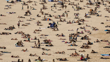 People cool off at Bondi Beach on Boxing Day.