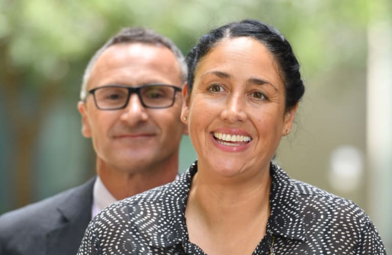 Greens leader Richard Di Natale and candidate Alex Bhathal during the campaign for Batman.