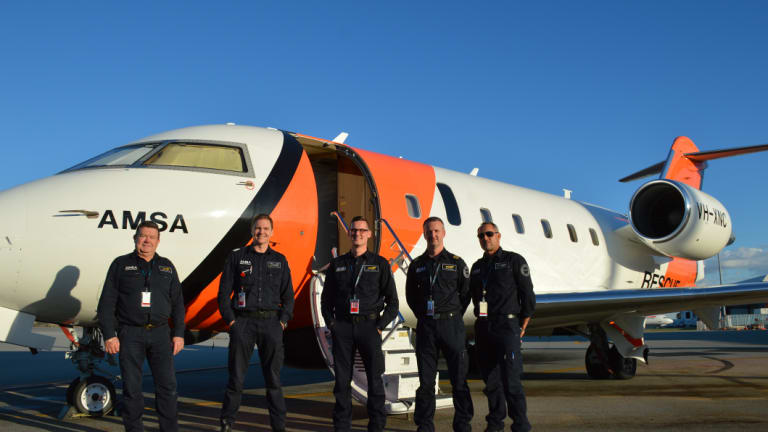 Left to right: Visual Observer Wayne Kinnaird, Captain Alexander James, Senior Base Observer Luke Vivarelli, Aircraft Mission Coordinator Chris Hinder, First Officer Kerry Staples.